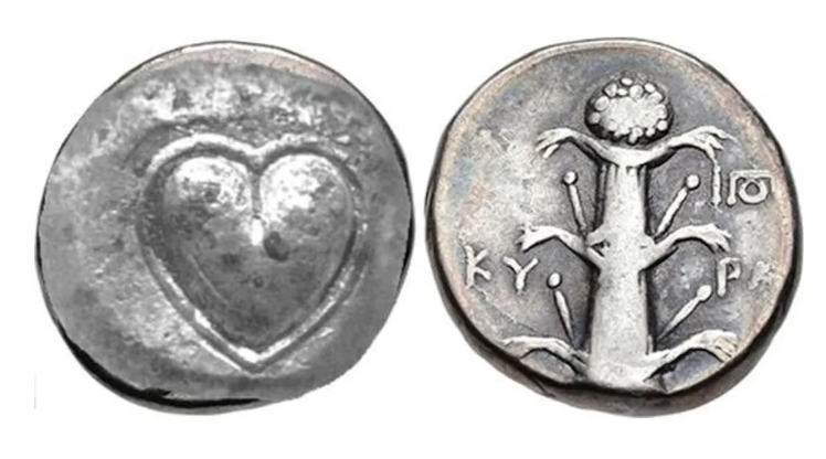 Ancient Roman coin with heart design